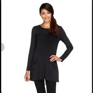 LOGO Black Chiffon Peek-A-Boo Back Cutout Tunic M